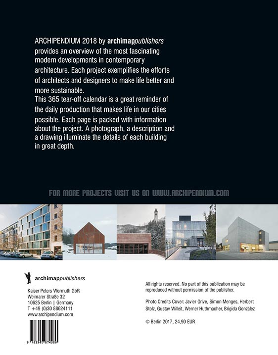 Architekturkalender 2018 | ARCHIPENDIUM Back Cover